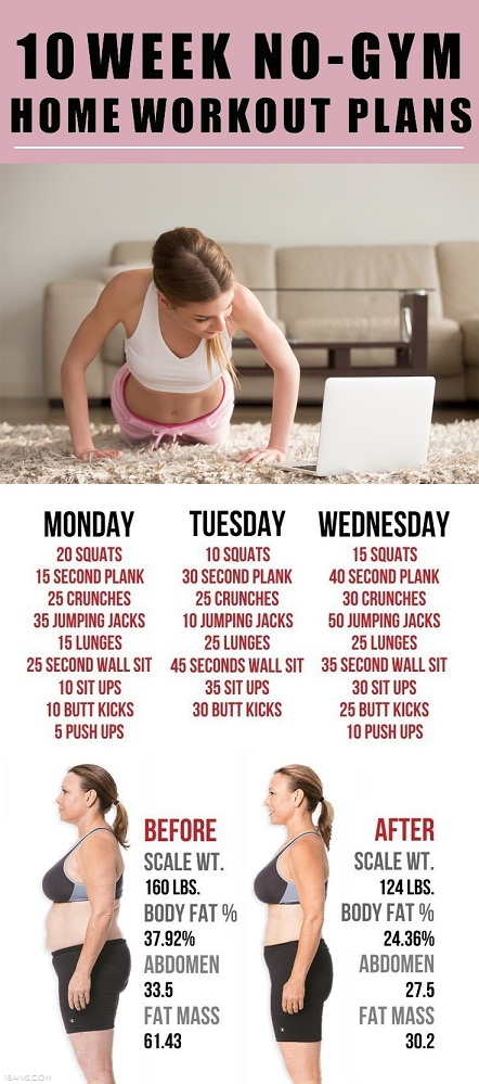 10 Week No-Gym Home Workout Plans   TickAbout