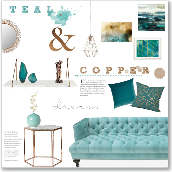Gray And Teal Living Room By Jurzychic On Polyvore: Teal & Copper: Living Room