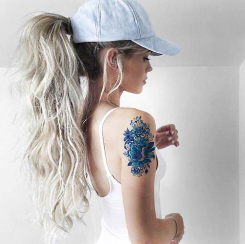 8b2b617dd Blue Watercolor Vintage Temporary Tattoo Arm Sleeve | TickAbout