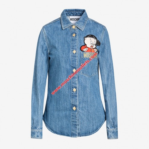 c62fa2f38ff Moschino Chinese Pig Year Womens Long Sleeve Shirt Blue | TickAbout