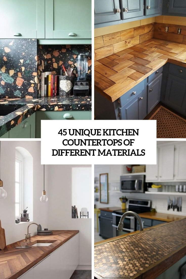 45 Unique Kitchen Countertops Of Different Materials | TickAbout